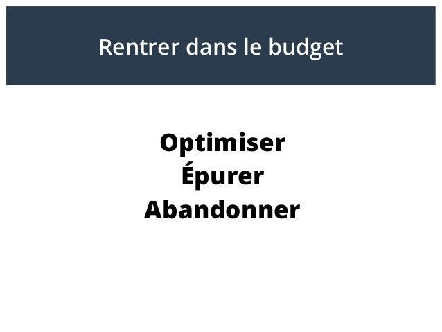 Optimiser Épurer Abandonner Rentrer dans le budget