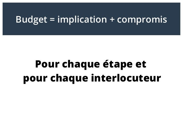 Pour chaque étape et pour chaque interlocuteur Budget = implication + compromis