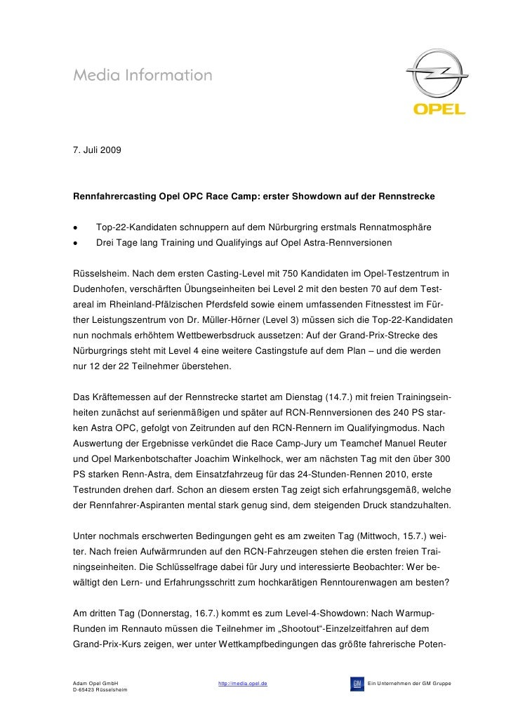7. Juli 2009Rennfahrercasting Opel OPC Race Camp: erster Showdown auf der Rennstrecke        Top-22-Kandidaten schnuppern ...