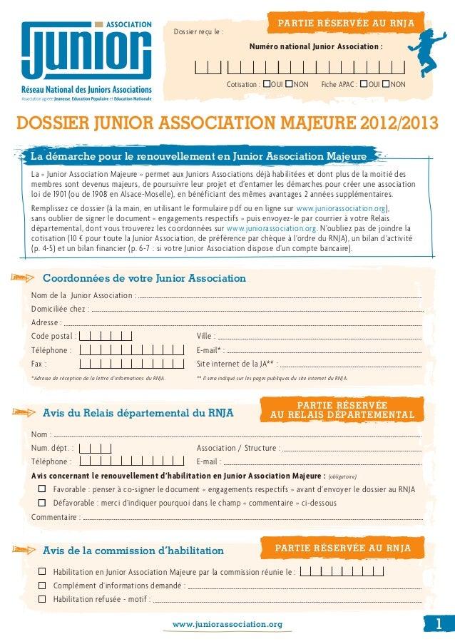Coordonnées de votre Junior AssociationNom de la Junior Association:    Domiciliée chez : Adresse : Cod...