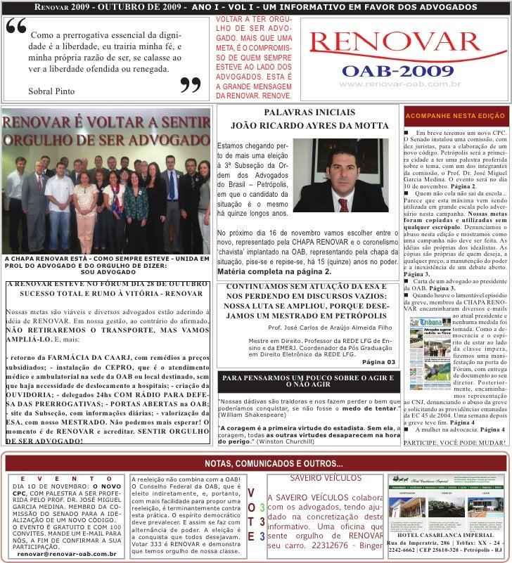 """RenovaR 2009 - oUTUBRo De 2009 - ANO I - VOL I - UM INFORMATIVO EM FAVOR DOS ADVOGADOS    """"                               ..."""