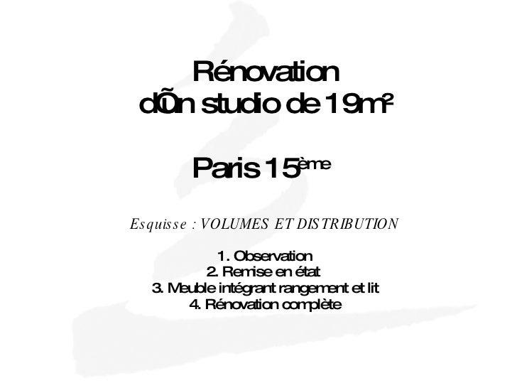 Rénovation d'un studio de 19m² Paris 15 ème   Esquisse : VOLUMES ET DISTRIBUTION 1. Observation 2. Remise en état  3. Meub...