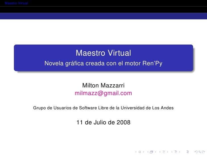 Proyecto Maestro Virtual: Novela gráfica creada con el motor Ren'Py