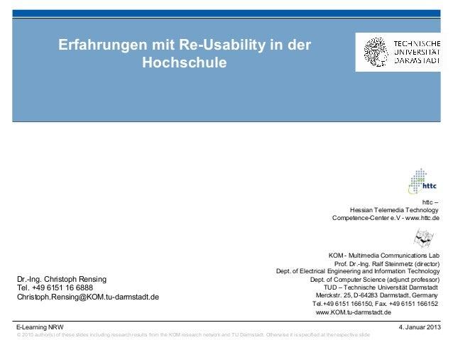 Erfahrungen mit Re-Usability in der                            Hochschule                                                 ...