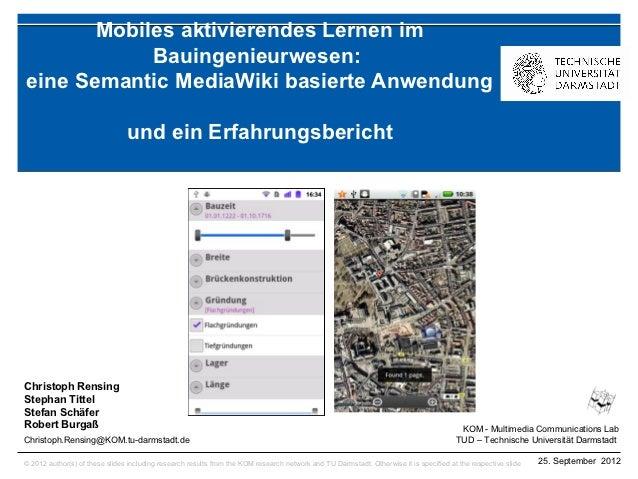 Mobiles aktivierendes Lernen im            Bauingenieurwesen:eine Semantic MediaWiki basierte Anwendung                   ...