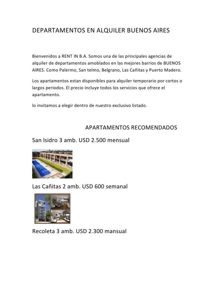 DEPARTAMENTOS EN ALQUILER BUENOS AIRESBienvenidos a RENT IN B.A. Somos una de las principales agencias dealquiler de depar...