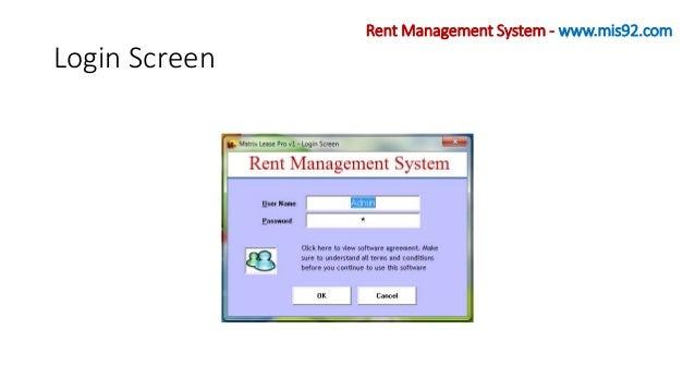 Login Screen Rent Management System - www.mis92.com