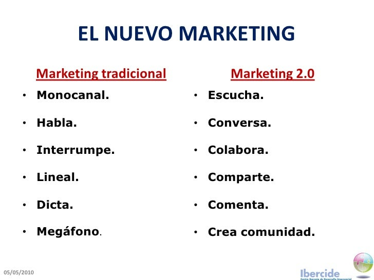 EL NUEVO MARKETING              Marketing tradicional        Marketing 2.0       • Monocanal.                   • Escucha....