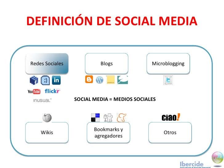 DEFINICIÓN DE SOCIAL MEDIA  Redes Sociales            Blogs              Microblogging                      SOCIAL MEDIA =...