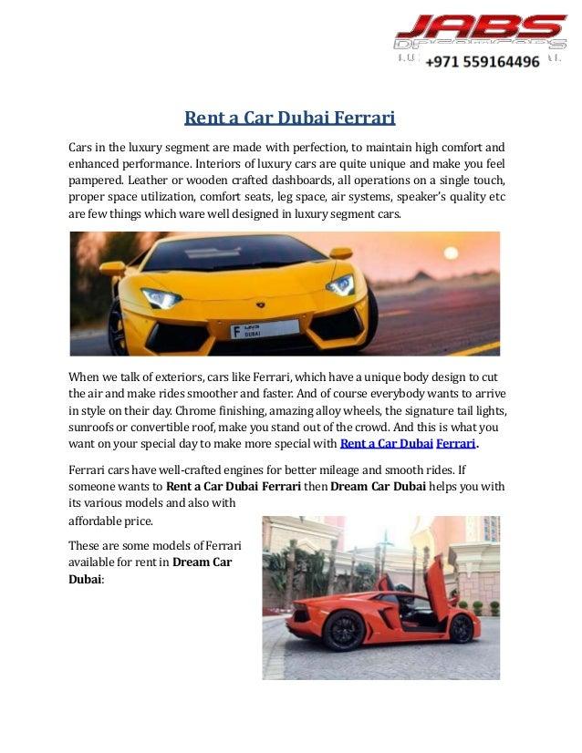 Rent A Car Dubai Ferrari
