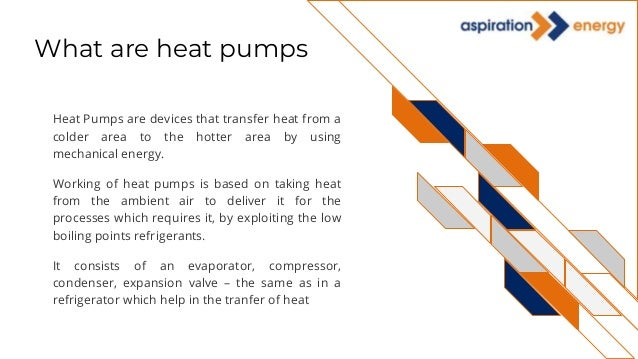What are heat pumps Heat Pumps are devices that transfer heat from a colder area to the hotter area by using mechanical en...