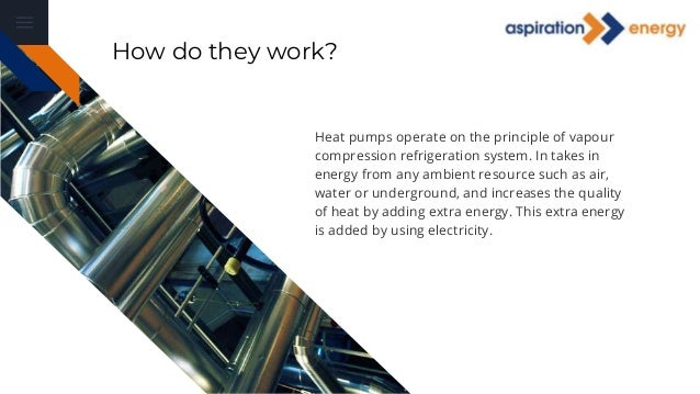 Heat pumps operate on the principle of vapour compression refrigeration system. In takes in energy from any ambient resour...