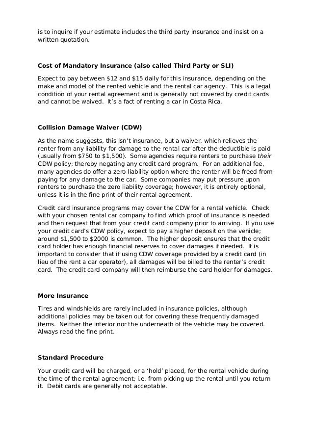 Mandatory Ceoverage Car Rent