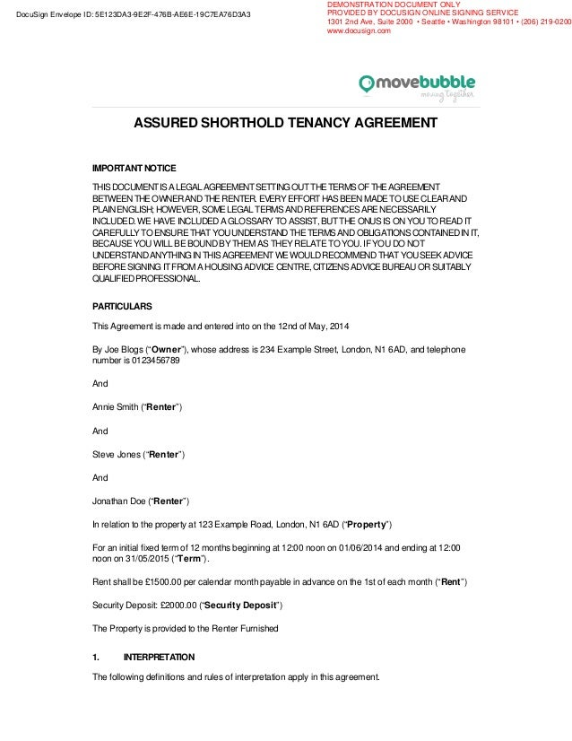 Example movebubble rentsign rental agreement assured shorthold tenancy agreement important notice thisdocumentisalegalagreementsettingoutthetermsoftheagreement between platinumwayz