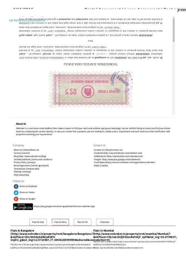 Rental agreement Lease agreement Rent agreement format in Pdf nob