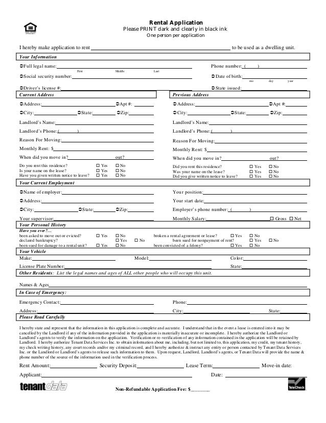 Tenant application form for Housing rental application template