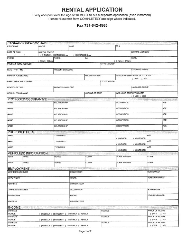 application for rental home