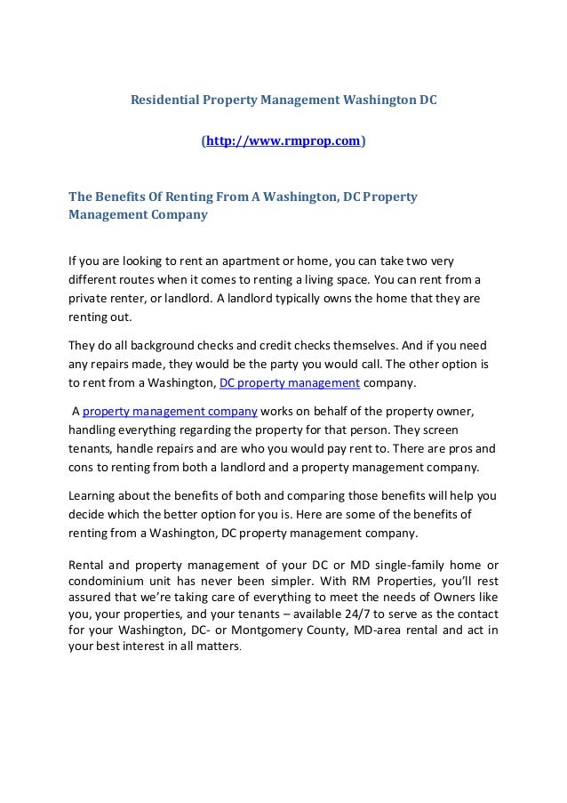 Rental property dc management