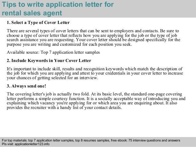 Rental sales agent application letter
