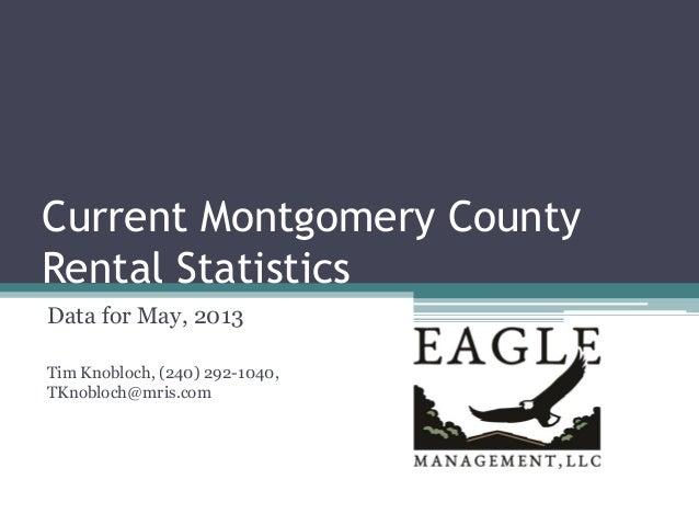 Current Montgomery County Rental Statistics Data for May, 2013 Tim Knobloch, (240) 292-1040, TKnobloch@mris.com
