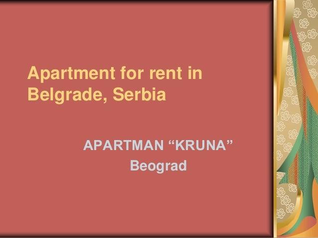 "Apartment for rent in Belgrade, Serbia APARTMAN ""KRUNA"" Beograd"