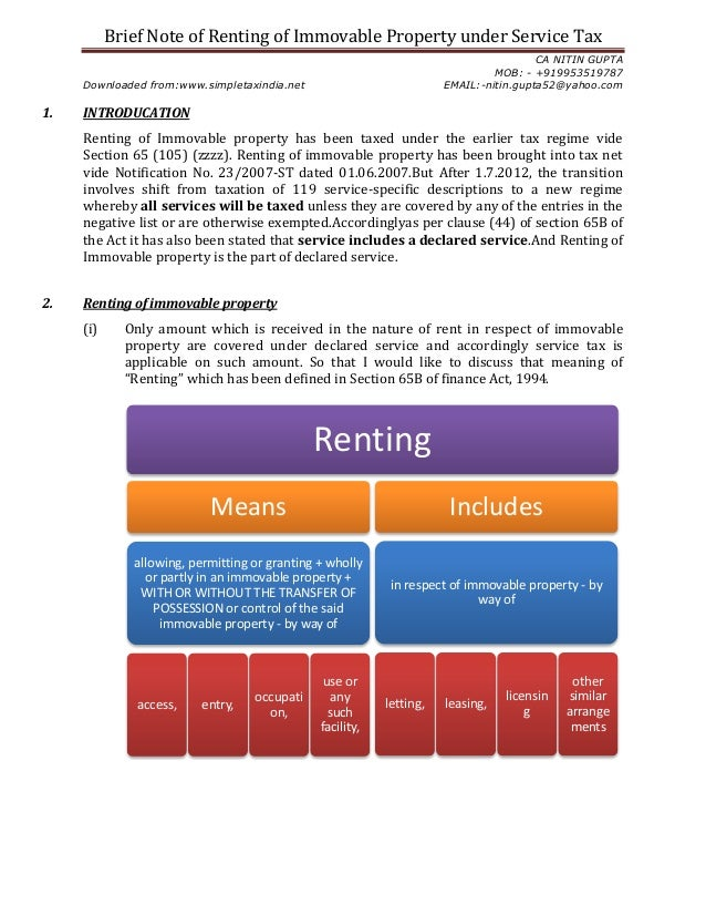 Brief Note of Renting of Immovable Property under Service TaxCA NITIN GUPTAMOB: - +919953519787Downloaded from:www.simplet...