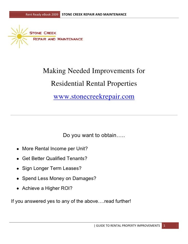 Rent Ready eBook 2009   STONE CREEK REPAIR AND MAINTENANCE                      Making Needed Improvements for            ...
