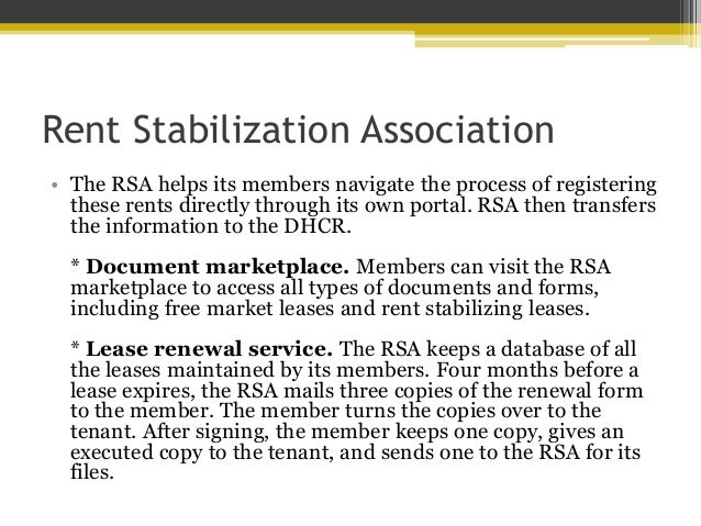 Rent Stabilization Association Offers Members Numerous Benefits