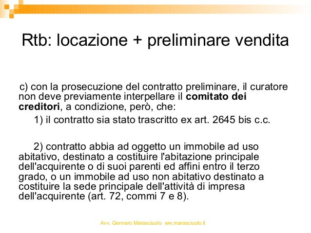 Rent to buy e fallimento slides for Contratto di locazione ad uso abitativo