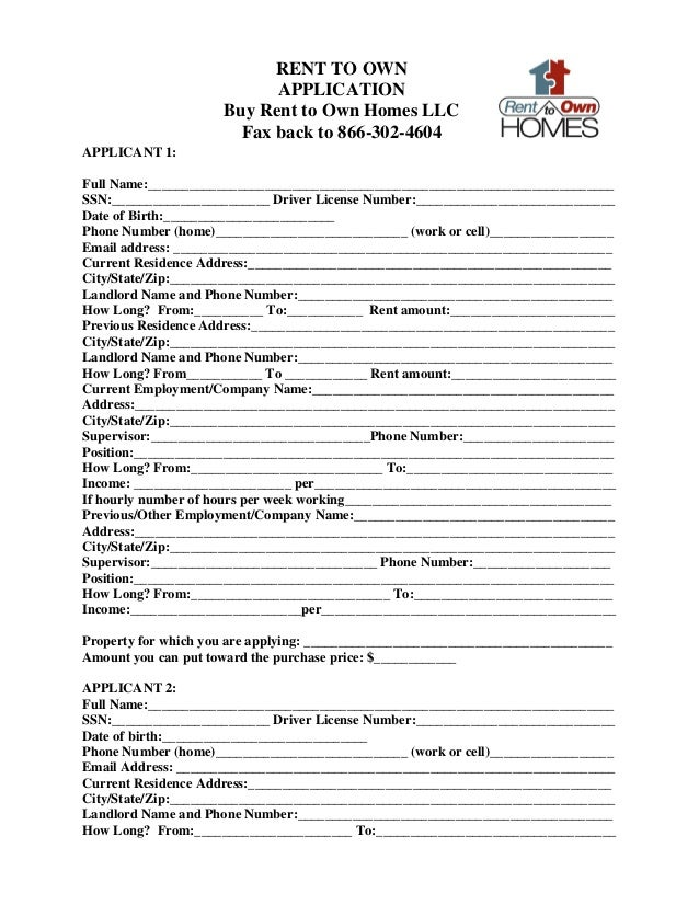Rent to own application