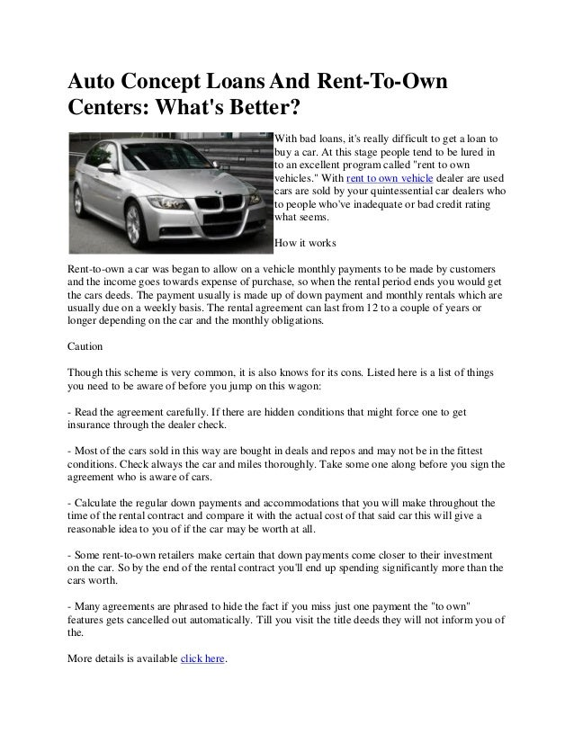 Rent To Own Agreement Auto Concept Loans And Renttoowncenters Whats