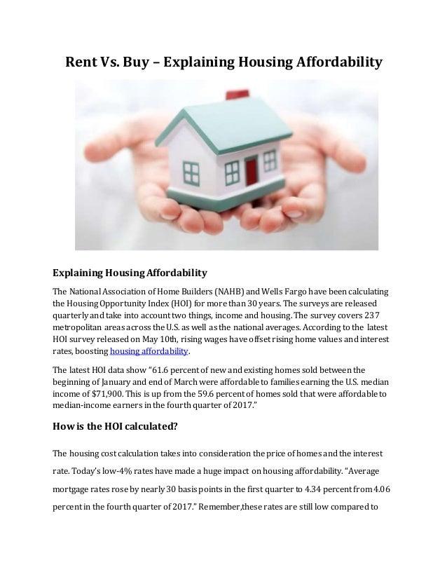 rent vs buy explaining housing affordability