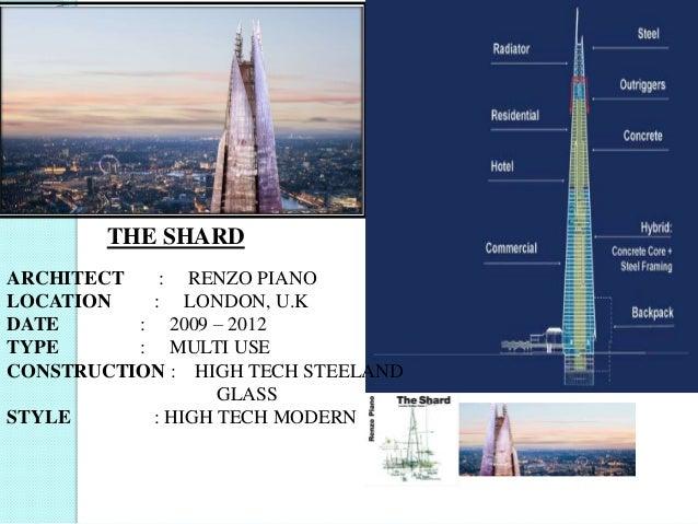 THE SHARD ARCHITECT : RENZO PIANO LOCATION : LONDON, U.K DATE : 2009 – 2012 TYPE : MULTI USE CONSTRUCTION : HIGH TECH STEE...