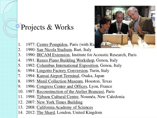 Projects & Works 1. 1977: Centre Pompidou, Paris (with Richard Rogers) 2. 1990: San Nicola Stadium, Bari, Italy 3. 1990: I...