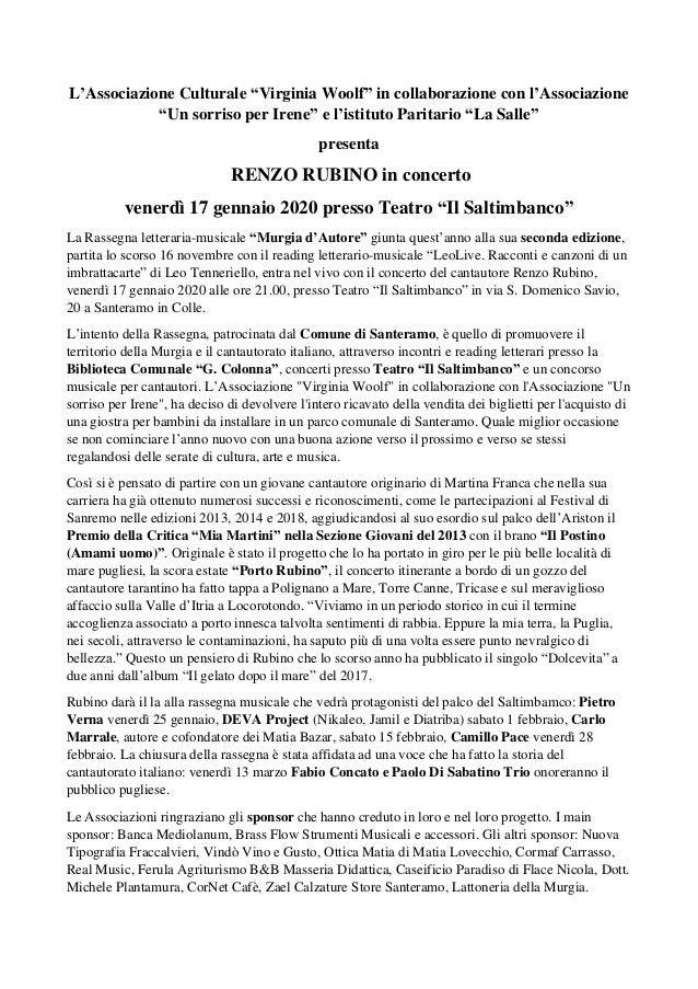 "L'Associazione Culturale ""Virginia Woolf"" in collaborazione con l'Associazione ""Un sorriso per Irene"" e l'istituto Paritar..."