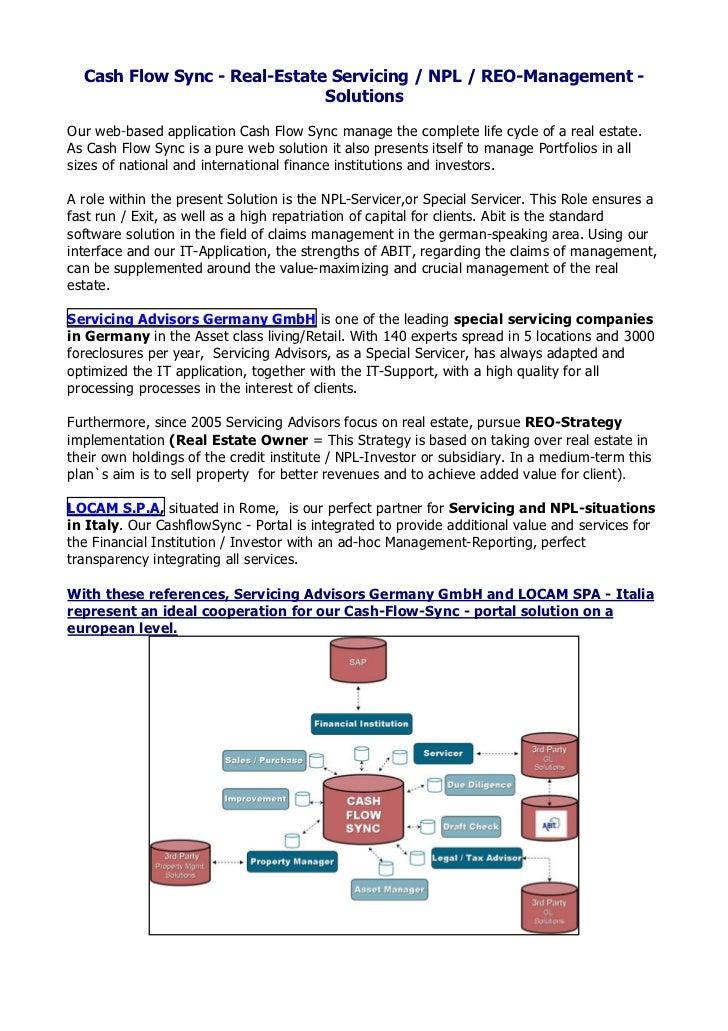 Cash Flow Sync - Real-Estate Servicing / NPL / REO-Management -                                SolutionsOur web-based appl...