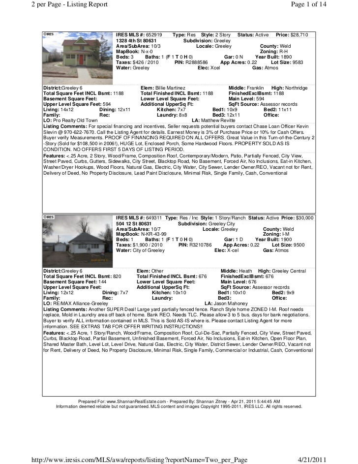 2 per Page - Listing Report                                                                                               ...