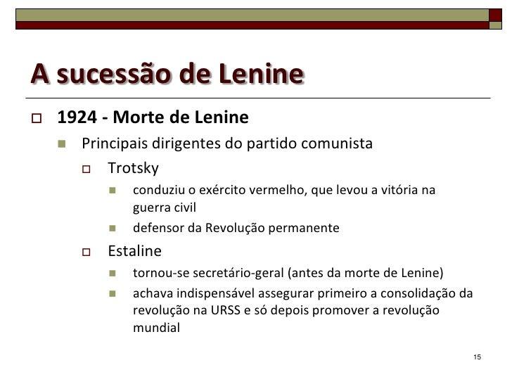 A sucessão de Lenine   1924 - Morte de Lenine       Principais dirigentes do partido comunista         Trotsky         ...