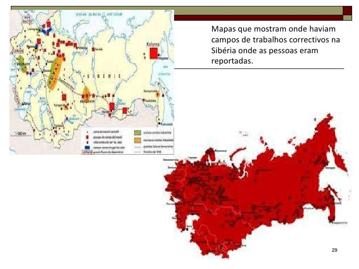 Mapas que mostram onde haviamcampos de trabalhos correctivos naSibéria onde as pessoas eramreportadas.                    ...