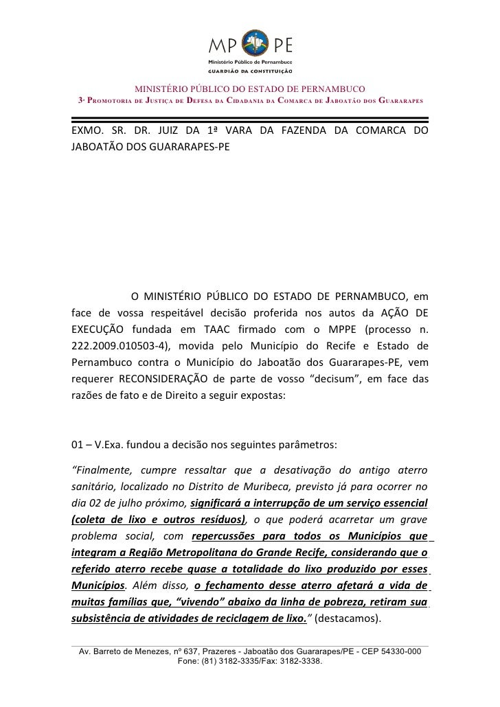 MINISTÉRIO PÚBLICO DO ESTADO DE PERNAMBUCO  3ª PROMOTORIA DE JUSTIÇA DE DEFESA DA CIDADANIA DA COMARCA DE JABOATÃO DOS GUA...