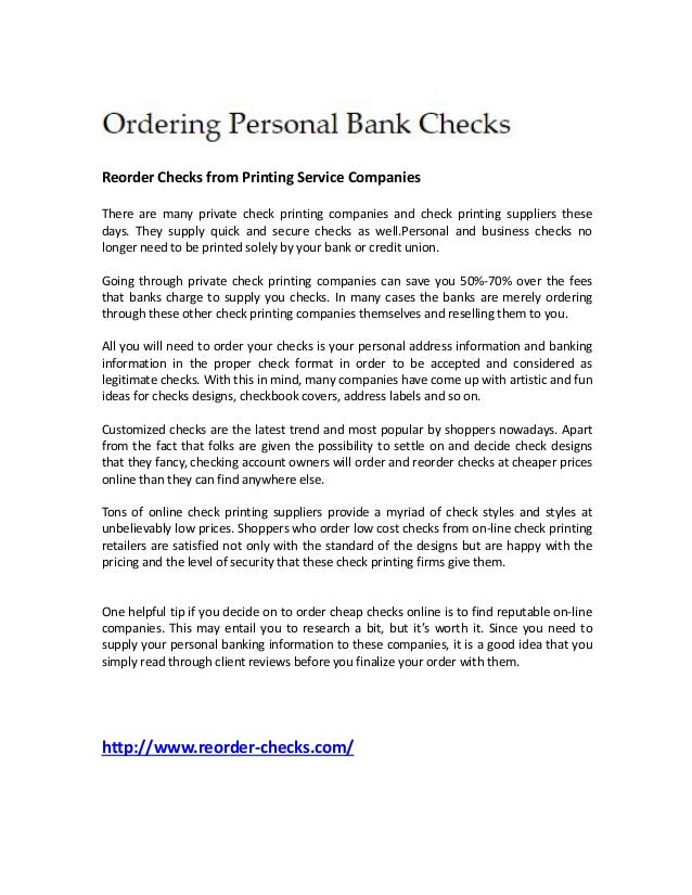 ordering personal bank checks