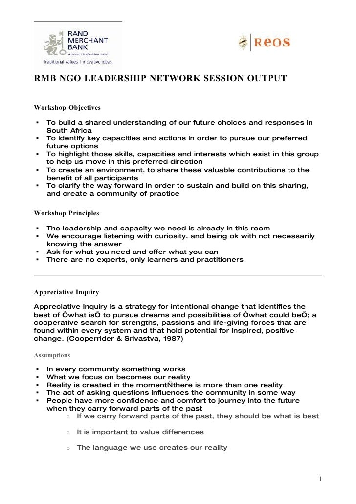RMB NGO LEADERSHIP NETWORK SESSION OUTPUT  Workshop Objectives     To build a shared understanding of our future choices ...