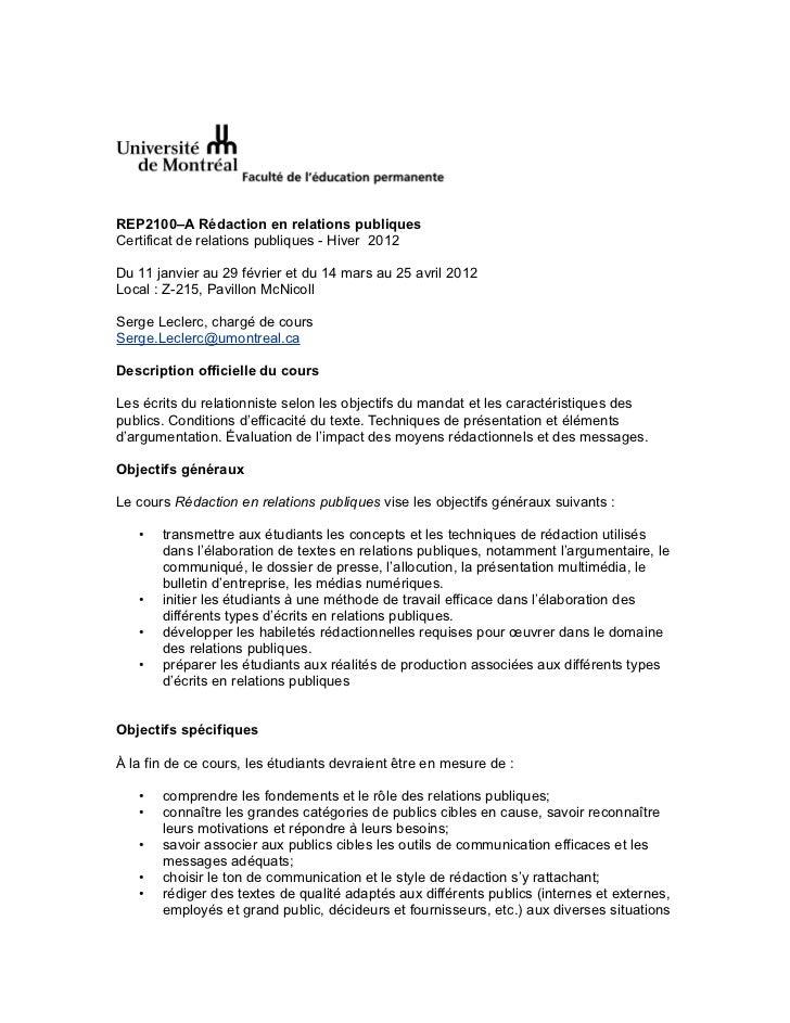 Plan de cours - hiver 2012