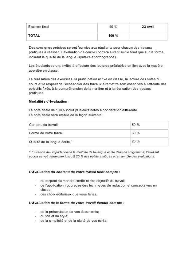 Plan de cours r daction en relations publiques for Redaction sur le respect