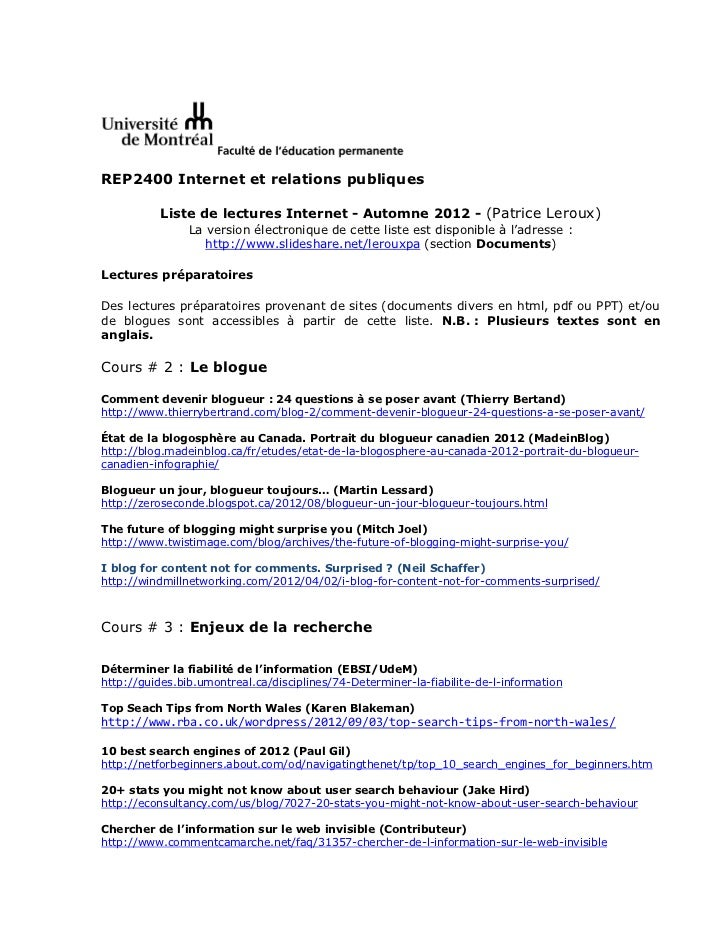 REP2400 Internet et relations publiques           Liste de lectures Internet - Automne 2012 - (Patrice Leroux)            ...