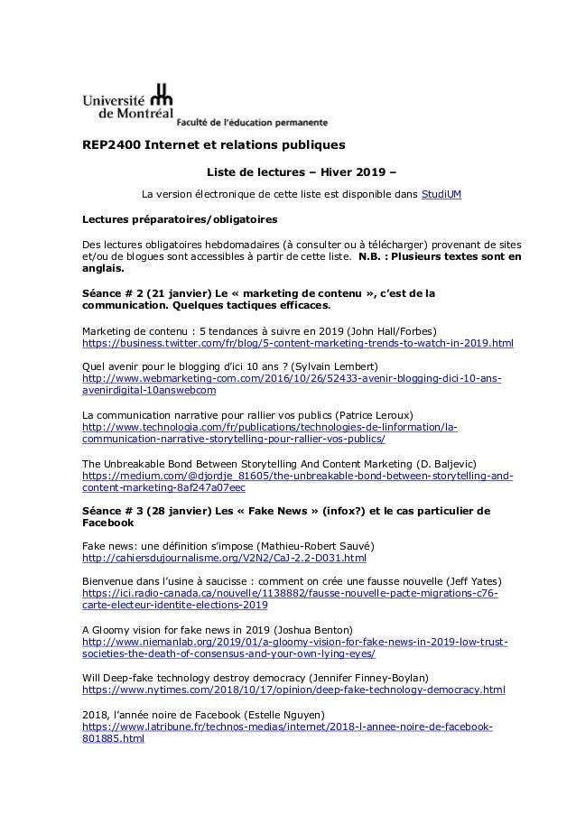 REP2400 Internet et relations publiques Liste de lectures – Hiver 2019 – La version électronique de cette liste est dispon...