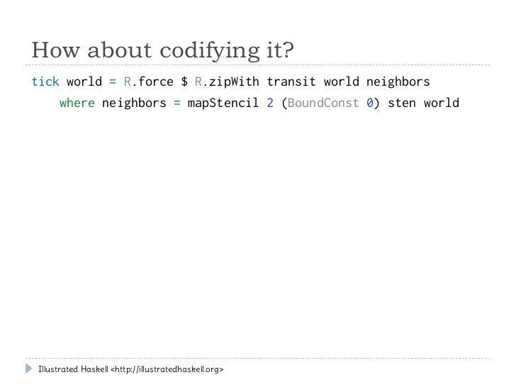 How about codifying it?tick world = R.force $ R.zipWith transit world neighbors    where neighbors = mapStencil 2 (BoundCo...