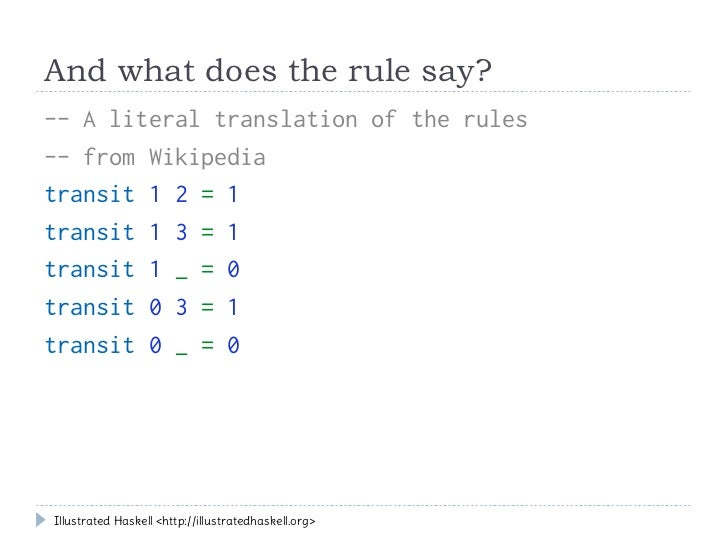 And what does the rule say?-- A literal translation of the rules-- from Wikipediatransit 1 2 = 1transit 1 3 = 1transit 1 _...