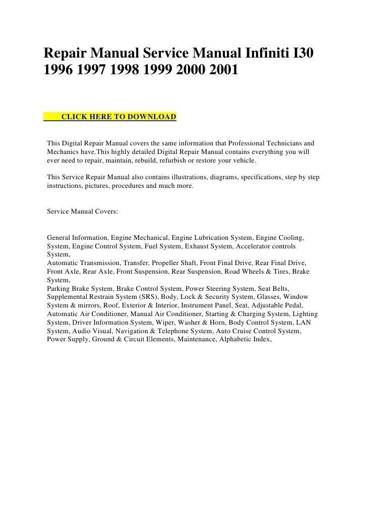 repair manual service manual infiniti i30 1996 1997 1998 1999 2000 20 rh slideshare net 1998 infiniti i30 repair manual pdf 1998 infiniti i30 repair manual pdf