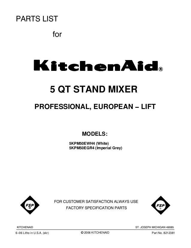 Kitchenaid Stand Mixer Parts Diagram Replacement Parts List